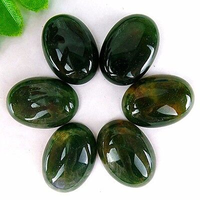 6Pcs Delicate Nice Green Moss Agate Oval Cab Cabochon 25*18*6mm AE482
