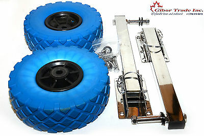 400 lbs Dinghy Launching Transom Wheels Stainless/s Folding & Bolts solid wheels