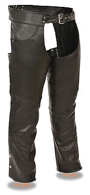 Men's Premium Leather Motorcycle Chap w/ Jean Style Upper Pockets - Fully Lined