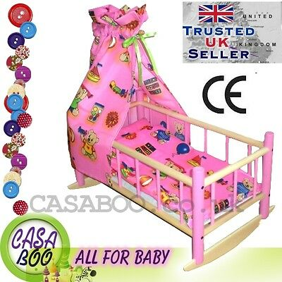 Wooden toy bed crib cot  for dolls with bedding and canopy preschool girl's GIFT