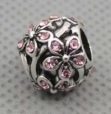 Pink Crystal Daisy Flower Charm Bead For European Bracelets Silver Plated 1pc