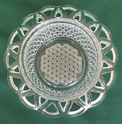 Vintage Imperial Glass Crochet Lace Edge Bowl Arranger Vase Crystal Laced Edge