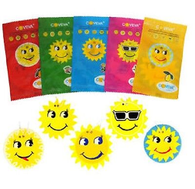 Coveva Carded Assorted Smiley Sun Hanging Air Freshener For Home Car Office