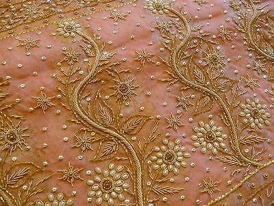 Indian Bridal Wedding Saree Heavy Work Peach Colour Pearls And Zari