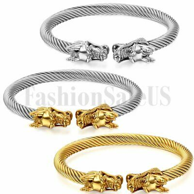 Mens Gold Silver Tone Dragon Stainless Steel Twisted Cable Bangle Bracelet Cuff