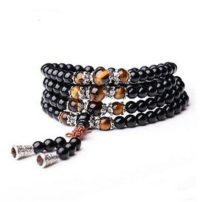 6mm Stone Buddhist Black Glaze 108 Prayer Beads Mala Bracelet/Necklace DAJ9012-2