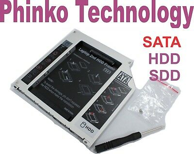 Notebook 9.5mm SATA CD ROM Optical Drive Bay for 2nd HDD Hard Drive Caddy Tray..
