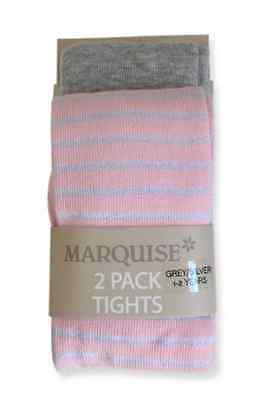 NEW Marquise Grey and Silver Metallic Stripe Tights     2 Pack