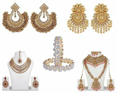 Bollywood Combo Jewelry Sets Gold Plated Necklace, Earrings Set and Bangles Set