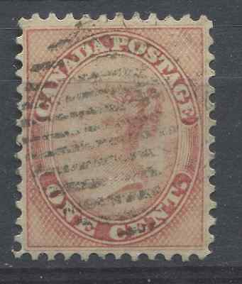 Canada #14 1859-65 1c Rose Cents Issue P. 12 - VF-76 Used Example