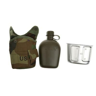 1L Outdoor Military Camping Hiking Water Bottle Canteen & Cup & Pouch Camo