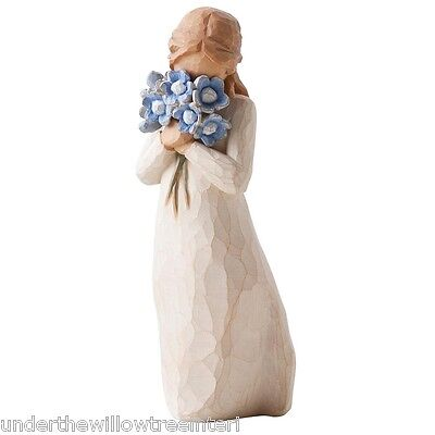 New & Boxed Willow Tree Figurine Girl with Flowers 'Forget me not' #26454