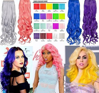 Women'S New Bright Colours One Piece Clip In Curly Hair Extension Hairpiece