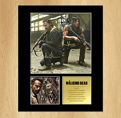 The Walking Dead Signed Mounted Photo Display Norman Reedus, Andrew Lincoln