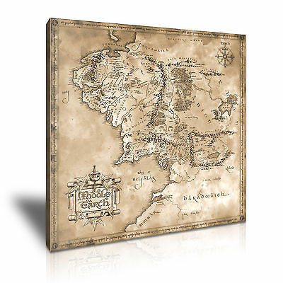 Hobbit Lord Of The Rings Map Movie Canvas Framed Print Wall Art ~ More Size