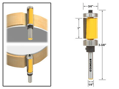 "1"" Flush Trim Top and Bottom Bearing Router Bit - 1/4"" Shank - Yonico 14983"