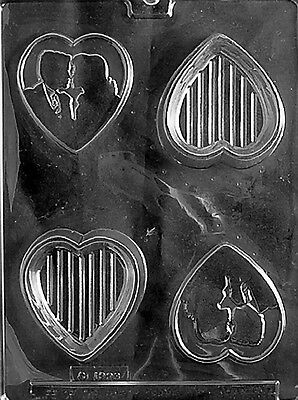 BUNNY HEART POUR BOX V129 mold Chocolate Candy soap making valentine
