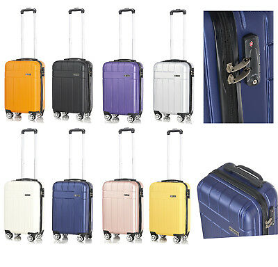 Cabin Hand Luggage Suitcase Ryanair 4 Wheeled ABS Travel Case Bag easyjet