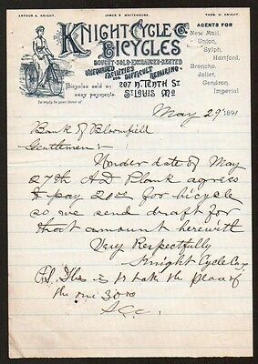 GREAT Bicycle - Knight Cycle Co  St Louis MO 1891 Vintage Letterhead Rare