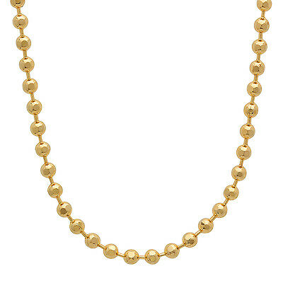 3mm 14k Yellow Gold Plated Diamond-Cut Ball Link Chain Necklace