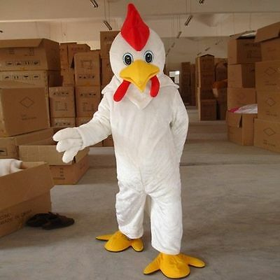 White Chicken Mascot Adult Costume Party Clothing Cock Costumes