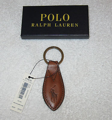POLO Ralph Lauren Brown Leather Keychain Key Fob NEW with Box / Tags NWT