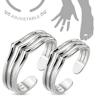 Pair of Triple Lines Adjustable Rhodium Plated Brass Mid-Ring/Toe Ring