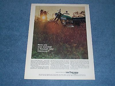 "1969 Triumph Bonneville Vintage Motorcycle Color Ad ""Have You Ever Watched...."""
