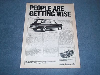 "1969 Simca 1204 GLS Vintage Ad ""People Are Getting Wise"""
