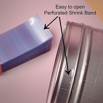 """200 Pcs Heat Shrink Neck Wrap Bands. Perforated - Width:1 1/8""""- Various Sizes"""