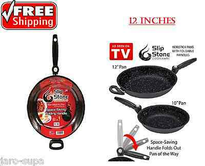 Pans Cookware 12 inches Slip Stone Nonstick Fry,Aluminum 4-Layer Surface NEW MNT