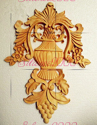 New European Unpainted Wood Oak Carved Onlay Applique Furniture Home Decor