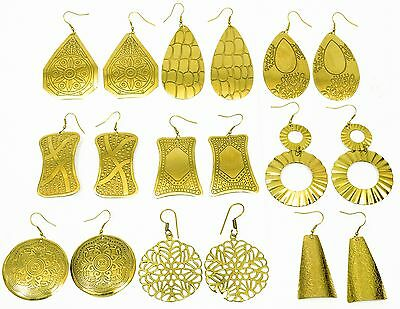 Wholesale Lot 9 Pairs Vintage Style Brass Indian Earrings Gypsy Boho Belly Dance