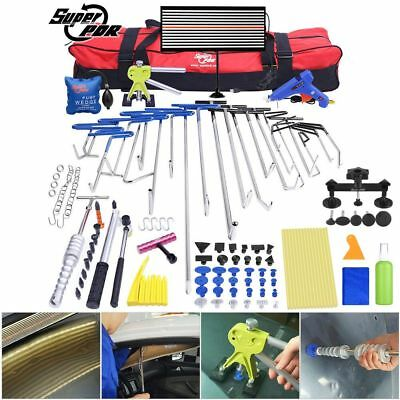 115pc PDR Hooks Auto Body Paintless Hail Repair LED Line Board Dent Removal Kit