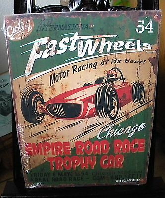 Holzbild -Fast wheel -40 cm x 30 cm - King of the Road-Cars- Retro-Auto