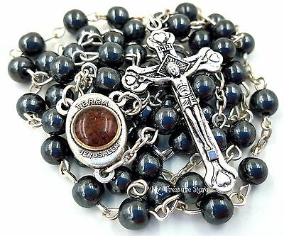 Hematite Rosary Beads Necklace with Jerusalem Soil, Catholic Cross in Gift Box