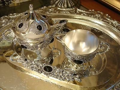 Vintage Silverplated Set of Sugar Bowl Milk Jug Tray Onyx Gems Ornate New