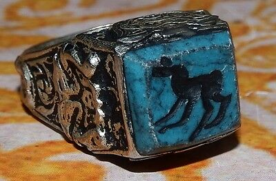 Vintage Ethnic Regional Tribal men - woman turquoise ring engraved stone