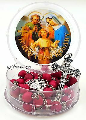 Catholic Rosary Necklace Rose Scented Red Beads with Jerusalem Cross in Gift Box