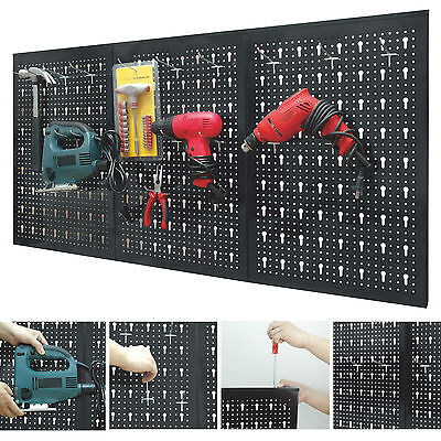 Peg Board Garage Wall Tool Rack 3 Panel Hanging Storage Shed Tidy Steel Pegboard
