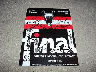 LIVERPOOL 1977 EUROPEAN CUP PROGRAMME SIGNED x10 HEIGHWAY CASE MCDERMOTT SMITH