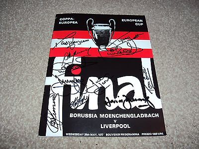 LIVERPOOL 1977 EUROPEAN CUP REPRINT PROGRAMME SIGNED x10 KEEGAN SMITH CLEMENCE