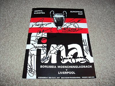 LIVERPOOL 1977 EUROPEAN CUP REPRINT PROGRAMME SIGNED x9 HEIGHWAY SMITH CLEMENCE