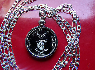 """1944 Philippines US TERRITORY .750 SILVER COIN Pendant on a 30"""" 925 Silver Chain"""
