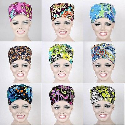 New 9 Kinds Pattern Flower Printing Scrub Cap Medical Surgical Surgery Hat Hot