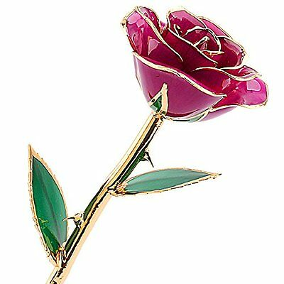 ZJchao Purple Rose Flower Dipped in 24k Gold and Last Forever, Love Gift to Her