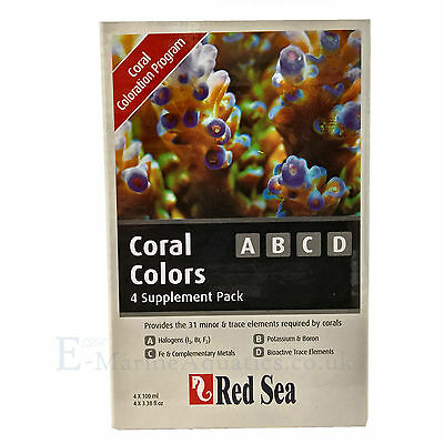 RED SEA CORAL COLORS A B C D - STARTER SUPPLEMENT PACK (4 X 100 ml)