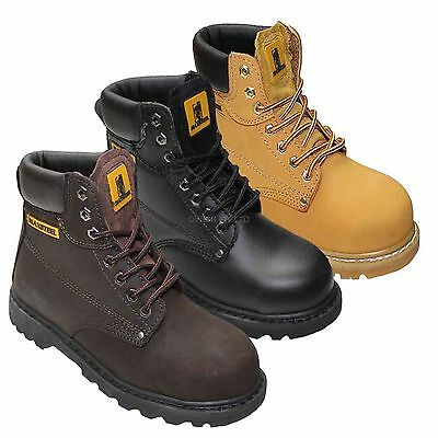 New Mens Leather Lace Up Safety Ladies Boot Steel Toe Cap Ankle Work Shoes Size