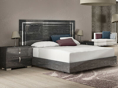Sarah bed with 2 bedside cabinets, High Gloss Grey, Made in Italy