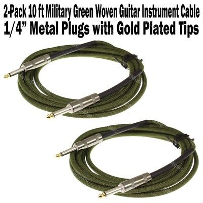 """2-Pack 10 ft Military Green Woven Guitar Instrument Cable Cord Effect Patch 1/4"""""""